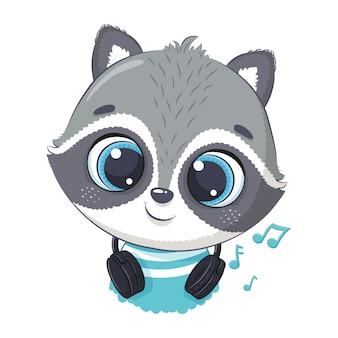 Милый мультфильм енот мальчик с наушниками слушать музыку
