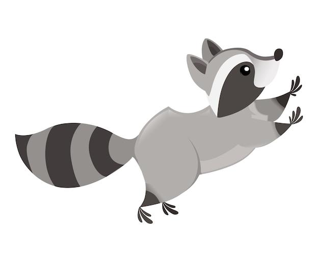 Милый мультяшный енот прыгает, вид сбоку дизайн персонажей мультфильмов животных
