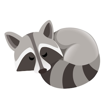 Милый мультфильм енот, спящий вид сбоку. дизайн персонажей мультфильмов животных