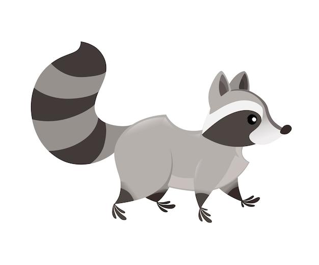 かわいい漫画のアライグマの散歩の側面図。漫画の動物のキャラクターデザイン