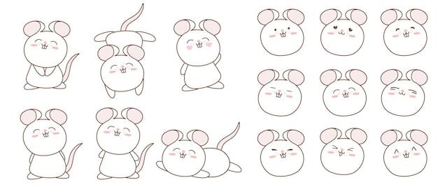 귀여운 만화 쥐 캐릭터 컬렉션.