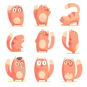 Cute cartoon red kitten in different actions set of  illustrations  on white background
