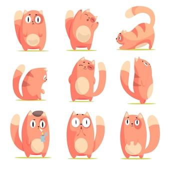 Симпатичный мультяшный рыжий котенок в разных действиях набор иллюстраций на белом фоне