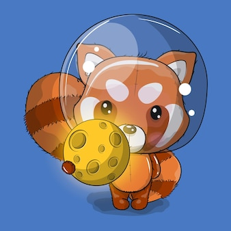 Cute cartoon red panda astronaut with the moon