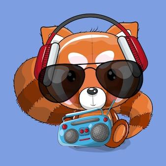 Cute cartoon red panda listening music vector illustration