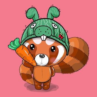 Cute cartoon red panda in rabbit cap vector illustration