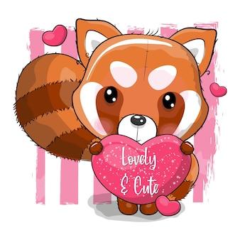 심장 벡터 일러스트와 함께 귀여운 만화 붉은 팬더