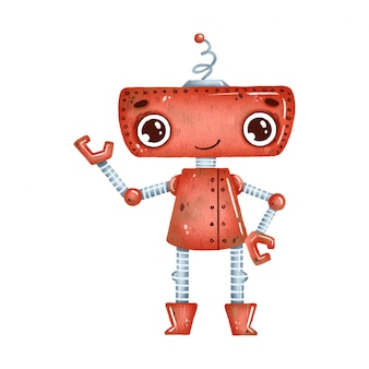 Cute cartoon red robot with big eyes on a white background