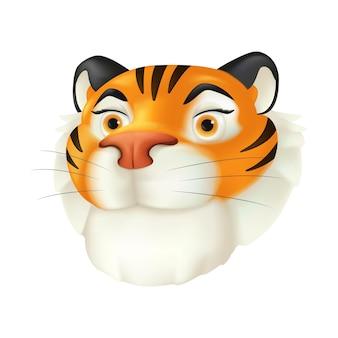 귀여운 만화 붉은 호랑이 머리. 흰색 배경에 격리된 웃는 얼굴 감정을 가진 줄무늬 야생 동물 캐릭터의 벡터 재미있는 삽화. 중국 달력으로 올해의 상징