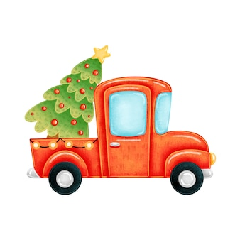 Premium Vector A Cute Cartoon Red Truck With A Christmas Tree Cartoon tree trunk set illustrations & vectors. premium vector a cute cartoon red