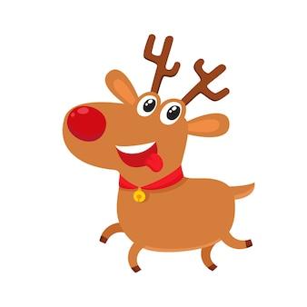 Милый мультяшный олень с красным носом удивлен, иллюстрации шаржа, изолированные на белом