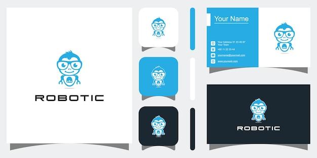 Симпатичный мультяшный робот-талисман с логотипом премиум векторы premium векторы