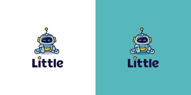 Симпатичный мультяшный робот-талисман с логотипом premium векторы