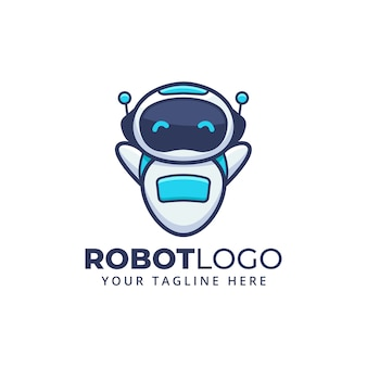 Cute cartoon robot character mascot logo.