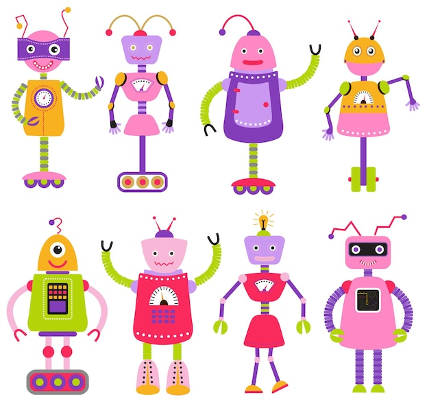 Cute cartoon robots set for girls isolated on white background vector illustration