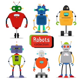 Cute cartoon robots set on white background