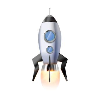 Симпатичная мультипликационная ракета с иллюминаторами и горячим ярким огнем из сопла, летящий на белом космический корабль