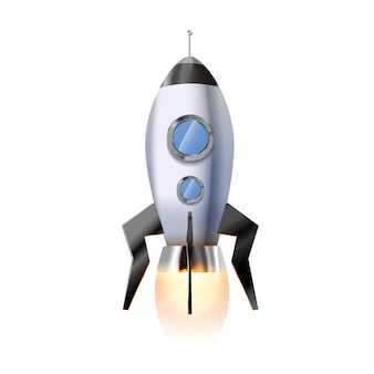 Cute cartoon rocket with illuminators and hot bright fire from nozzle, flying spaceship on white