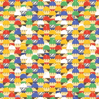 Cute cartoon safety workers pattern for wallpaper and background decorations.