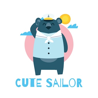 Cute cartoon sailor bear for children t-shirt design template series