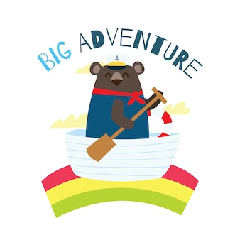 Симпатичный мультфильм матрос медведь для детей футболка дизайн шаблон серии