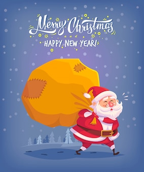 Cute cartoon santa claus delivering gifts in big bag merry christmas  illustration greeting card poster