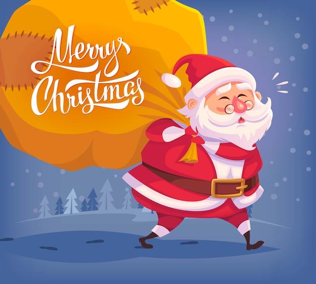 Милый мультфильм санта-клаус доставляет подарки в большой сумке с рождеством христовым иллюстрация поздравительная открытка постер