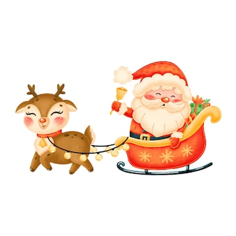 トナカイとそりでかわいい漫画サンタクロース