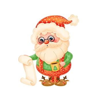 Cute cartoon santa claus reading a letter