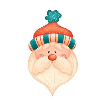Cute cartoon santa claus in red hat