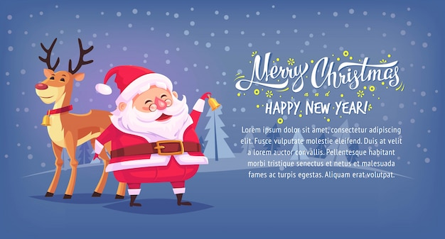 Cute cartoon santa claus ringing bell with reindeer merry christmas  illustration horizontal banner.