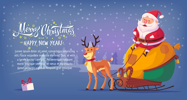 Cute cartoon santa claus sitting in sleigh with reindeer merry christmas  illustration horizontal banner.