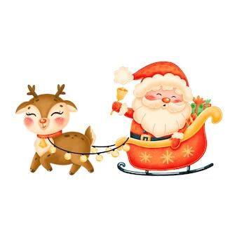 Cute cartoon santa claus in sleigh with reindeer