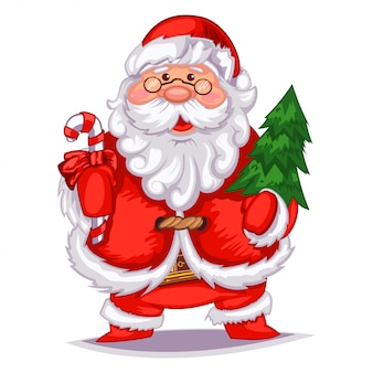 Cute cartoon santa claus with christmas tree and candy cane.