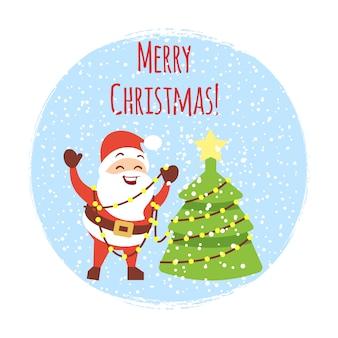 Cute cartoon santa with christmas tree and snowfall. cartoon christmas card template