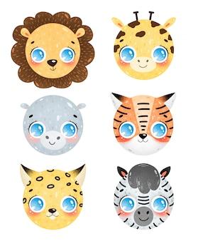 Милый мультфильм животных саванны лица иконки набор. голова льва, жирафа, бегемота, тигра, леопарда, зебры. смайлики африканских животных