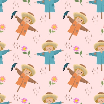 Cute cartoon scarecrows and flowers seamless pattern.