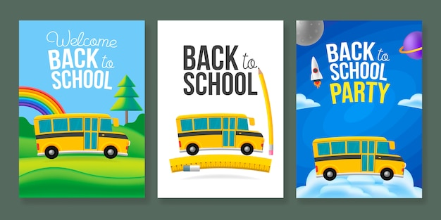 Cute cartoon school bus poster template set. back to school text sign. color background.