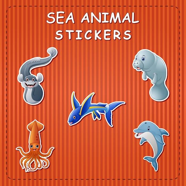 Симпатичные мультфильм морских животных на стикер