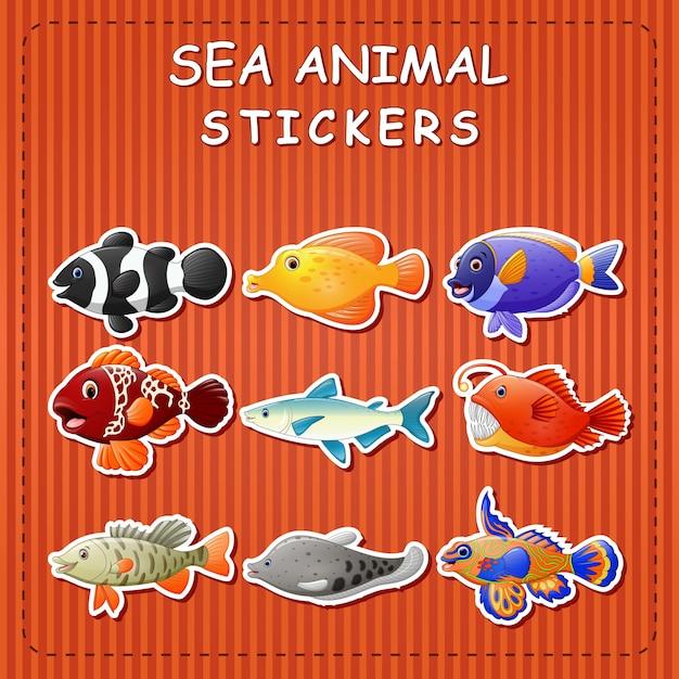 Cute cartoon sea animals on sticker