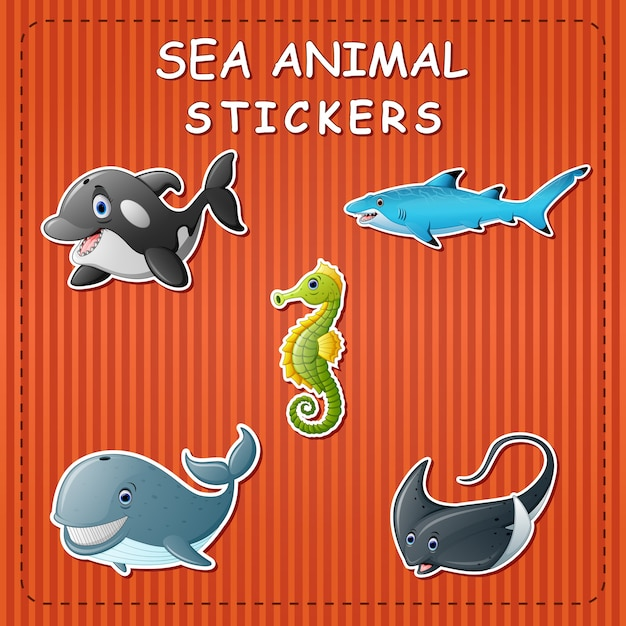 Cute cartoon sea animals on sticker
