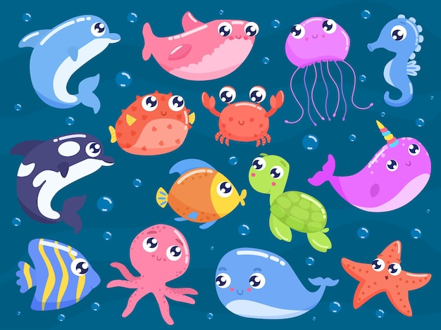귀여운 만화 바다 동물