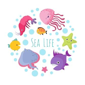Cute cartoon sea life animals on white