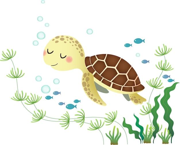 かわいい漫画のウミガメの水泳