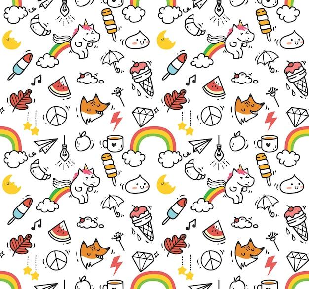 Cute cartoon seamless background, kawaii style