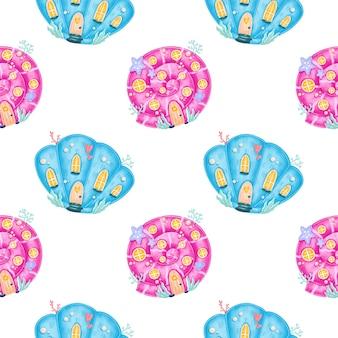 Cute cartoon seamless pattern. mermaid castle pattern. mermaid house pattren. underwater world pattern. fairy tale pattern.