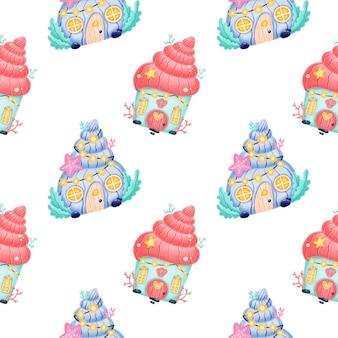 Cute cartoon seamless pattern. mermaid castle pattern.