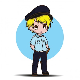 Cute cartoon security guard