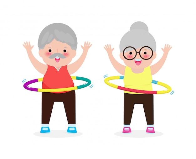 훌라 후프, 훌라 후프, 노인 재생 훌라 후프, 체중 감량 개념, 건강 및 피트니스 흰색 배경 벡터에 고립 된 노인 운동을하는 귀여운 만화 수석 부부