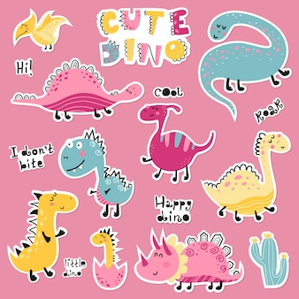 Cute cartoon set of dino stickers